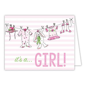 It's a Girl Clothesline Small Folded Greeting Card