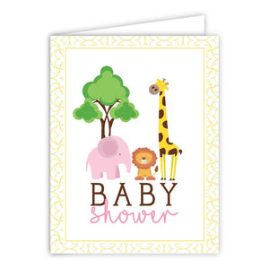 Baby Shower Zoo Animals Pink Greeting Card