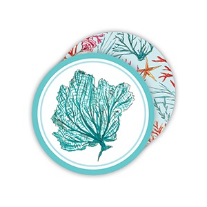 ROUND COASTERS - HANDPAINTED HANDPAINTED SHELLS AND CORALS