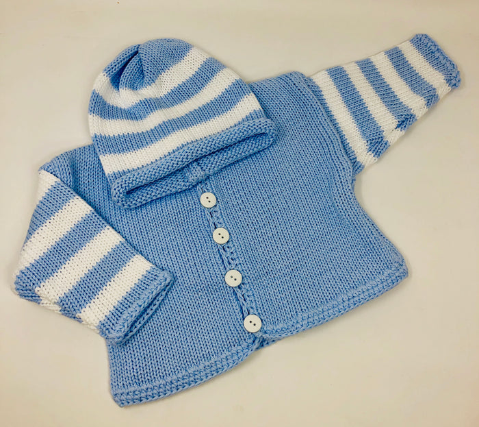 Blue & White Stripe Sweater and Hat