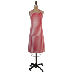 COTTON APRON W/ POCKET, RED & CREAM COLOR PLAID
