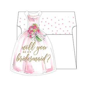 MED. SOCIAL SET W/LINED ENVELOPE - WILL YOU BE MY BRIDESMAID?- PINK