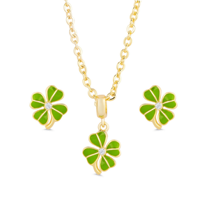 FOUR LEAF CLOVER STUD EARRINGS & NECKLACE SET