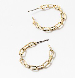 Golf Link hoop earrings.  Gold fill brass .