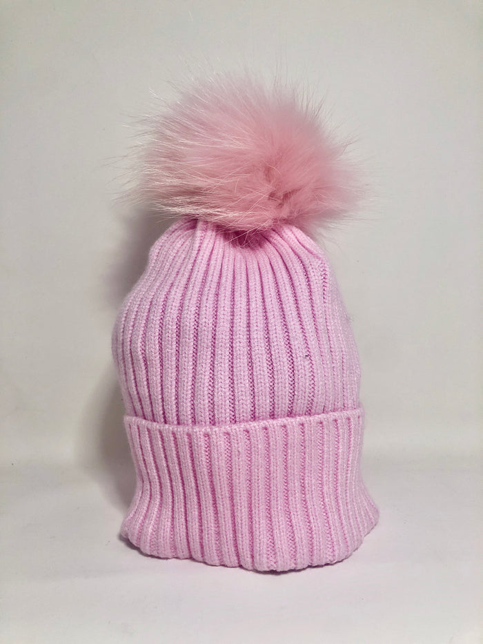 PERSONALIZED PINK RIBBED HAT WITH TIPPED FUR