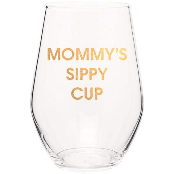 MOMMY'S SIPPY CUP - GOLD FOIL STEMLESS WINE GLASS