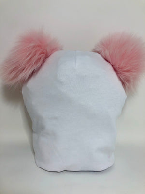 COTTON HAT WITH 2 FUR POMS