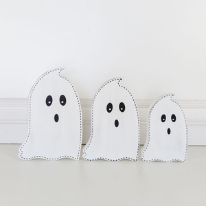 WOOD CUTOUT GHOST - SET OF THREE