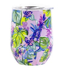 Lilly Pulitzer Stainless Steel Wine Tumbler With Lid, Mermaid In The Shade