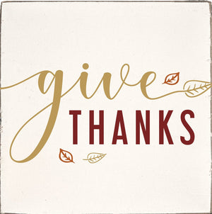 Rustic Square Block - Give Thanks