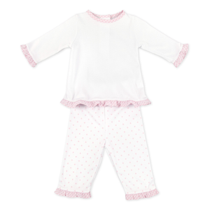 Essentials Gingham Dots Ruffle 2-Piece Pant Set