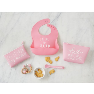 PINK SILICONE FEEDING SET