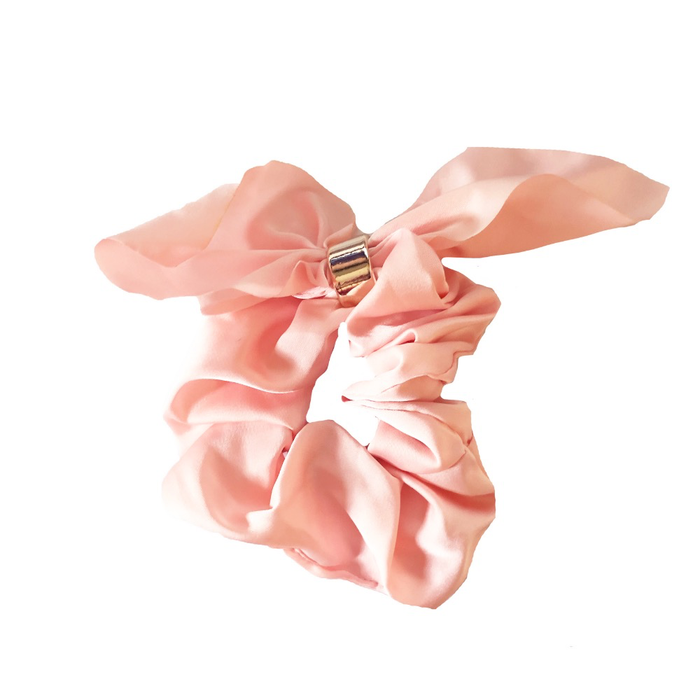 PINK SOLID TIE SCRUNCHIE BY HEADBANDS OF HOPE