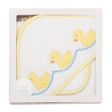 Yellow Duck Boxed Hooded Towel & Washcloth Set
