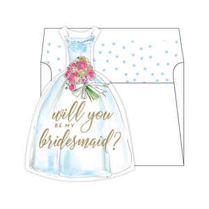 MED. SOCIAL SET W/LINED ENVELOPE - WILL YOU BE MY BRIDESMAID?- BLUE