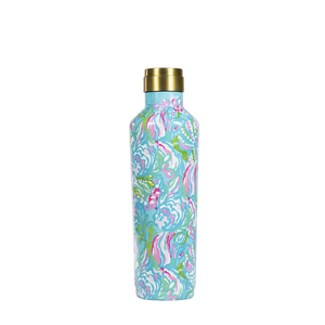 LILLY PULLITZER STAINLESS STEEL CANTEEN - AQUA LA VISTA