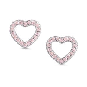 OPEN HEART PINK CZ STUD EARRINGS - STERLING SILVER