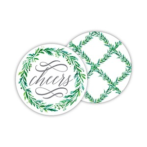 ROUND COASTERS - WEDDING GREENERY CHEERS