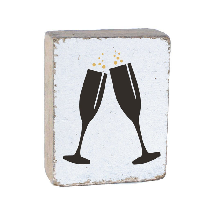 RUSTIC BLOCK - BLACK CHAMPAGNE GLASSES