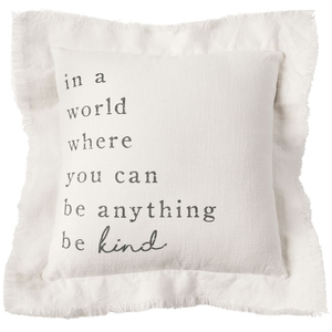 BE KIND FRAYED PILLOW