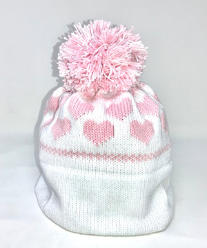 Personalized White Heart Earflap Hat