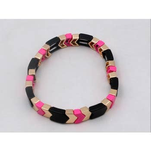Pink, Black & Gold Arrow Enamel Tile Stretch Bracelet
