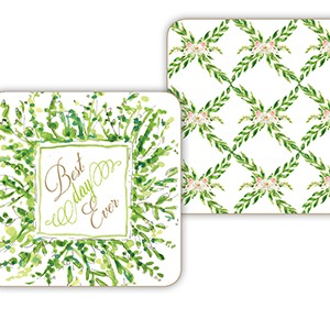 PAPER COASTERS - BEST DAY EVER/FLORAL LATTICE GREENERY