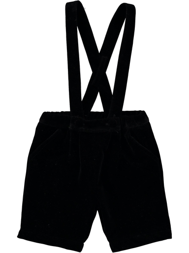 Black Velvet Suspender Shorts