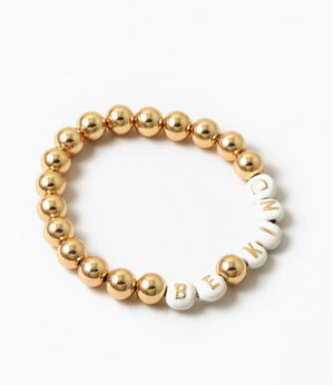 Be Kind Large Gold Ball Bracelet with star.