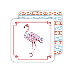 PAPER COASTERS - WATERCOLOR FLORAL FLAMINGO