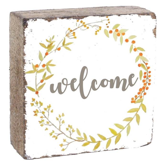 Rustic Square Block- Welcome Wreath