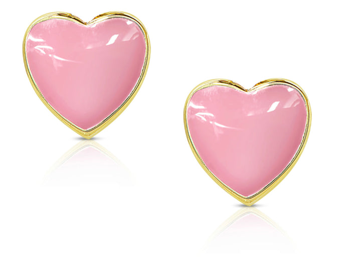 Heart Stud Earrings (Pink)