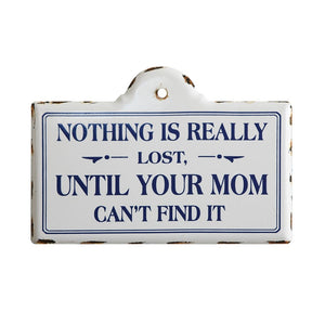 "Enameled Metal Wall Decor ""Nothing is Really Lost..."""