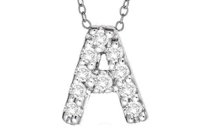 DIAMOND SILVER INITIAL NECKLACE - B