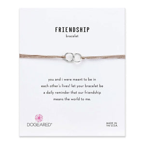Friendship double linked rings bracelet with adjustable bead closure