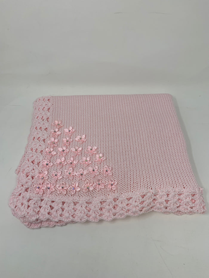 Pink Hand Knit Blanket with Rhinestone flower