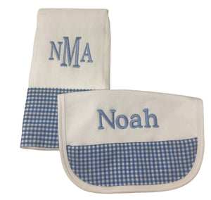 Personalized Gingham bib and burp cloth set
