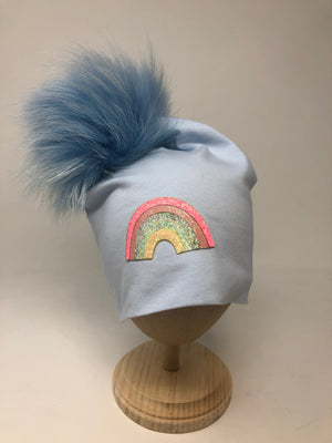 Cotton Hat with Fur Pom and Glitter Patch