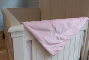 PERSONALIZED PINK MINK SHERPA BLANKET