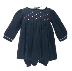 Long Sleeve Navy Smocked Dress