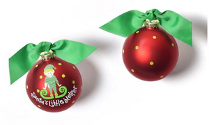 Santa's Little Helper Glass Ornament