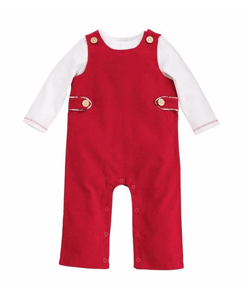 Red Christmas Overall and Shirt Set SIZE 6-9M