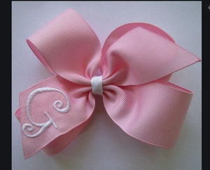 Initial Hair Bow-Pink With White Initial