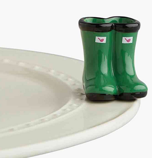 Nora Fleming Minis -Green Boots-Jumpin' Puddles