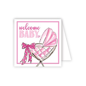 ENCLOSURE CARD - WELCOME BABY PINK BUGGY