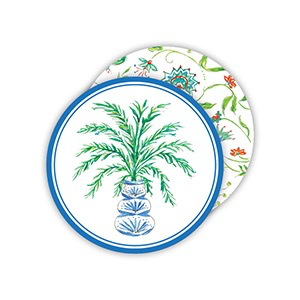 ROUND COASTERS - POTTED PALM BLUE