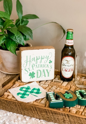 Rustic Square Block- Happy St. Patrick's Day