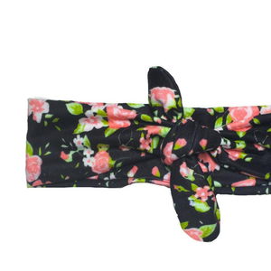 Black Floral Knotted Headband