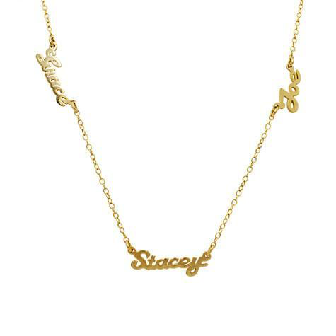 STERLING SILVER  Gold DIPPED 3 NAME NECKLACE