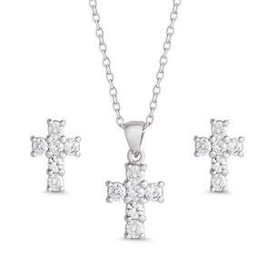 CZ CROSS PENDANT & STUD EARRINGS SET - STERLING SILVER
